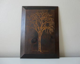 VINTAGE 1972 etched tree on wood WALL HANGING - the wooden art co., inc. - american elm tree - nature inspired art - minimalist nature art