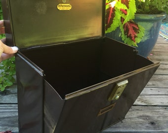 Vintage Mystrong File Box / Vintage Metal File Box with Lid and Keys / Industrial Mystrong File or Storage Box