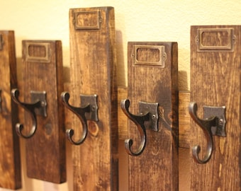 Rustic Coat Rack with Name Tag