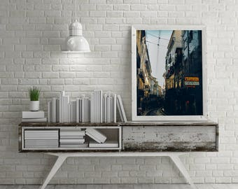 "Lisbon Photography, ""Street Lights"" Print Wall Art Decor Gift Apartment Art Lisbon Travel"