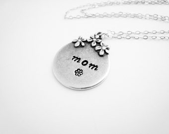 Mothers Necklace Hand Stamped Mothers Necklace Personalized Gift Mommy Mother Mom Mama Necklace Pewter Sterling Silver Everyday Gift For Her