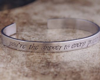 You're The Answer To Every Prayer I Ever Said / Romantic Jewelry / Romantic Bracelet / Inspirational Jewelry / Inspirational Bracelet