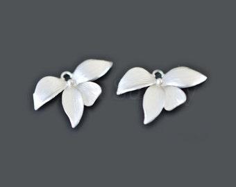2pcs - Matte Rhodium Plated Orchid petal Pendants (B0082R) - Orchid pendant, Charm, Wholesale finding,Wedding jewelry,Petal connector,Silver