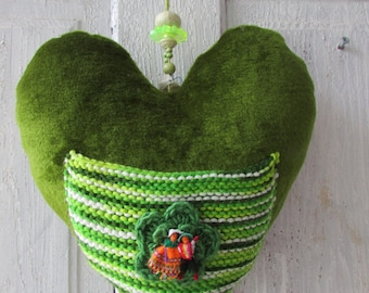 Large Quirky green velvet Heart Mobile Messenger with knitted pocket for Love notes or endearing gift items HEARTAROO MOBILE