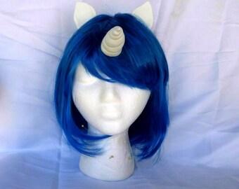 Unicorn Wig Blue Unicorn Horn Costume Wig Short Bob My Little Pony Cosplay MLP