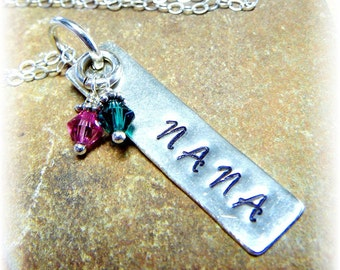 Personalized Hand-Stamped Sterling Silver 2 Two Birthstone Necklace- ONE Name- NANA Grandmother Grandma- Mother's Day - Handmade