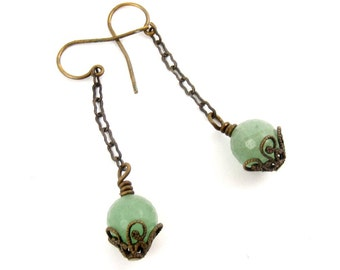 Boho Style Green Aventurine Earrings, Delicate Filigree Antique Look Gemstone Jewelry
