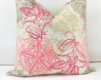 Pink Pillow Cover, Floral Cover, Spring Pillow, Cotton Pillow Cover, Pink Floral Pillow Cover