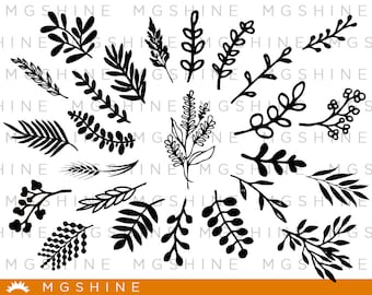Leaves SVG cutting files for Cricut and Silhouette Cameo - Leaves png clipart - Leaves dxf vector files - TS5
