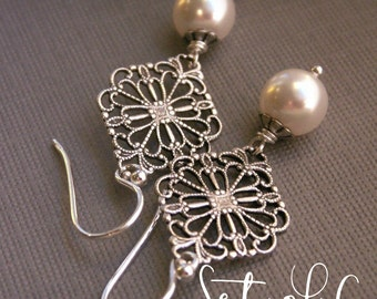 Bridesmaid earrings set of 6 pearl earrings, sterling silver, filigree earrings, vintage inspired, white pearl, ivory pearl bridesmaid gift,