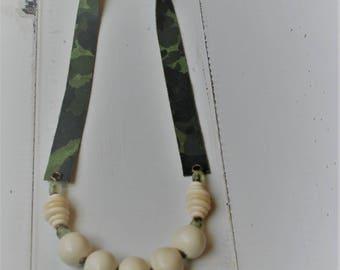 Camo Bone Bead Necklace