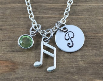 Personalized Musical Note Necklace - Hand stamped Monogram Music Lover Necklace - Initial, Birthstone Necklace - Music Teacher Gift