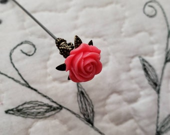 Victorian Hat Pin. Antique Inspired Bright Pink Floral Rose & Filigree Brass, Scarf Pin Stick Pin. DISPLAY or USE! Strong, Clutch Included