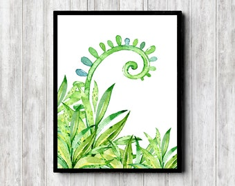 Watercolor Green Leaves Print Download - Botanical Office /Nursery /Bedroom /Bathroom Wall Art - Nature Poster - Watercolor Plant Decor
