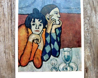 Picasso, Harlequin and Companion, Vintage Art Postcards, Soviet Vintage Postcard, Postcard Collectible