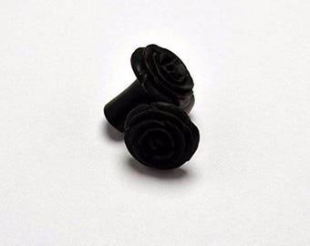 Rose Flower Ear Gauge Plugs (2g) - Arang Wood