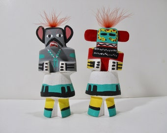 Pair of Pooley Hopi Native American Indian Kachina Dolls Mouse and Guard, Highway Route 66 Souvenirs, Vintage