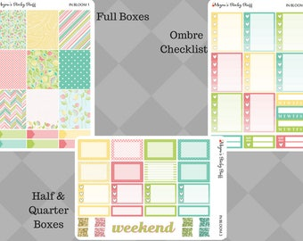 In Bloom A La Carte Kit | floral, pastel, bloom, plants, pink, blue, green, yellow | Weekly Planner Stickers sized for Erin Condren Vertical