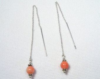 Lyn's Jewelry Coral Threader Earrings Sterling Silver