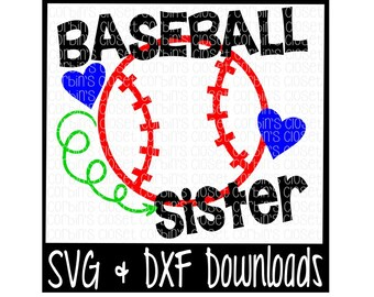 Baseball Sister Cutting File - SVG & DXF Files - Silhouette Cameo/Cricut