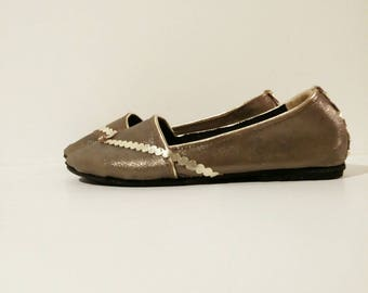 Bronze gold leather ballerina flat shoes custom made