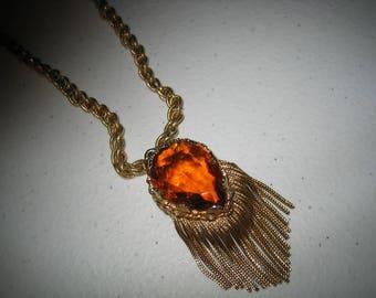 Vintage Awesome Double Sided Topaz Cut Stone Fringe Necklace