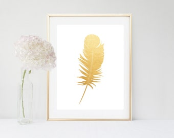 Gold Feather Print, Feather Art, Printable Feather, Printable Art, Wall Decor, Instant Download, Feather print