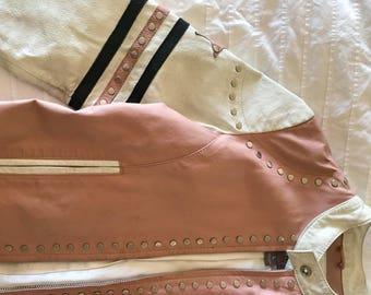 Leather western glam studded jacket