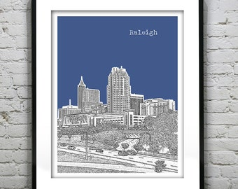 Etsy Birthday 20% Off Sale - Raleigh Skyline Poster Art Print North Carolina NC Version 2
