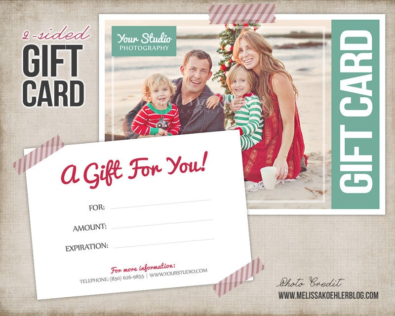 Gift Card Template Digital Gift Certificate Photoshop Template