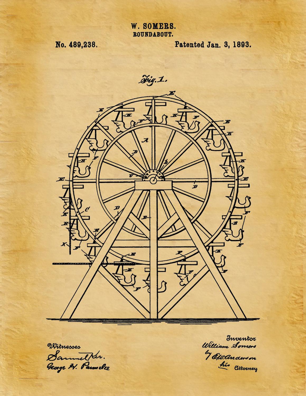 Patent 1893 Ferris Wheel Patent Art Print - Poster Print ...