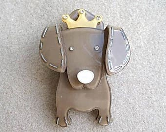 Quirky & Cute Taupe/Coffee Lucite?  Crystal Dog Brooch