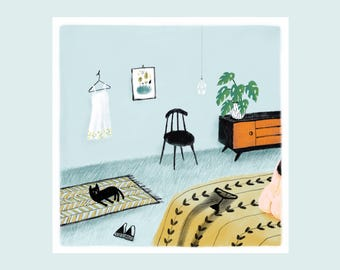 Little voyeur, illustration print, illustration art, interior, cat, boudoir