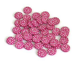 Hot Pink Polka Dot Sewing Buttons for Scrapbooking Crafts Knitting Crochet Cerise 12mm Round Spotty for Jewellery Making Embellishments