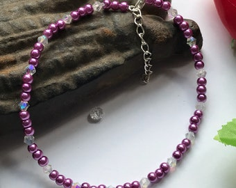 Purple Anklet, Purple and Crystal Anklet, Large Purple Anklet, Pirole Bead Anklet, Crystal Anklet, Purple Beaded Anklet,