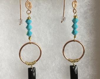 Turquoise and Jet Black Swarovski Crystal Geometric Earrings