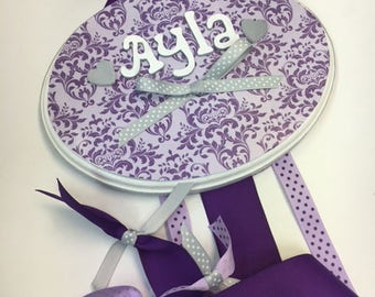 Purple on Lavender Damask Bow holder