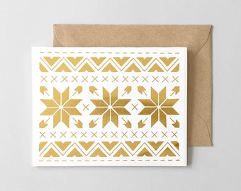 Snowflake Pattern Gold Foil Stamped Holiday Card