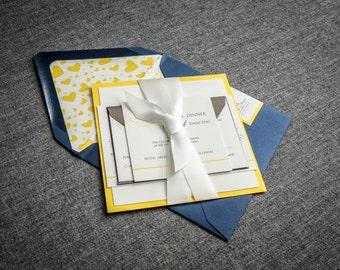 "Beach Wedding Invitation, Navy and Yellow, Destination, Nautical Theme, Blue and Yellow Invites - ""Romantic Flourish"" FP-1L-v2 SAMPLE"