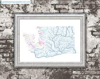 River basins of Washington in rainbow colours (high resolution digital print) map print, wall art, poster map, home decor, wall decor, gift