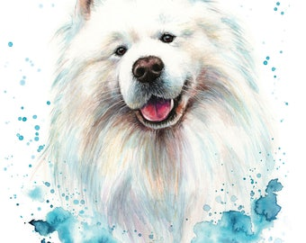 Custom Pet Portrait of your dog,  colourful illustration made with watercolours and pastels personalised samoyed painting dog or cat