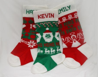 Personalized Christmas Stocking (Unlined) - Create a custom keepsake by selecting a color, pattern, and adding a name.