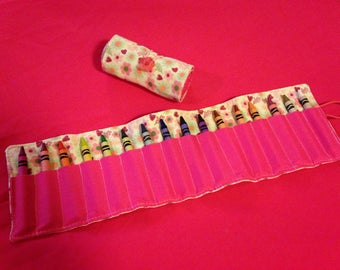 Crayon Roll Up Holder Case Hearts Flowers Leaves Handmade Holds 16 Crayons