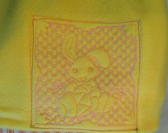 Nap mat cover Childs sleep mat cover yellow flannel embroidered pink bunny cream webbing easy handle sturdy back orange cream ticking stripe
