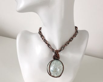 Clear Glass marble wire weave pendant necklace