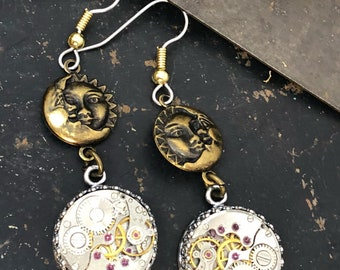 Isabel, Sun and Moon Steampunk Earrings
