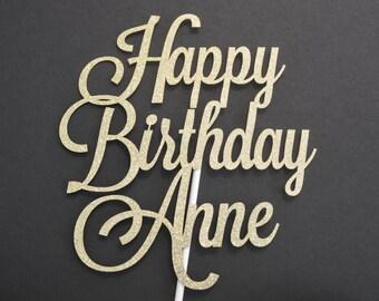 Personalized Glitter Happy Birthday Cake Topper - Glitter Cake Topper - Cake Decoration - Birthday Cake Topper - Custom Cake Topper