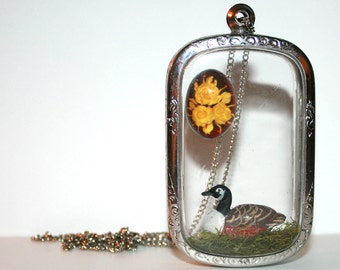 Floral Duck Necklace - Wearable Art handmade locket shadow box necklace tiny miniature dollhouse jewelry
