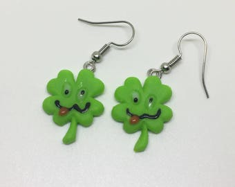 Shamrock st. Pactricks day lucky four leaf clover polymer clay earrings