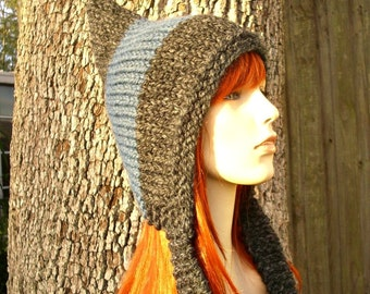 Knit Hat Womens Hat - Pixie Hat in Charcoal Grey and Denim Blue Knit Hat - Grey Hat Blue Hat Womens Accessories Winter Hat